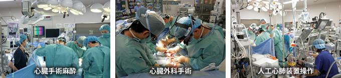 心臓手術麻酔、心臓外科手術、人工心肺装置操作の写真